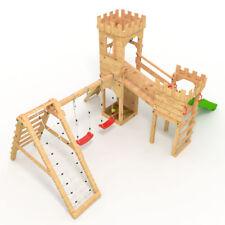 Spielturm - Ritterburg - mit 2 Klettertürmen - 2x Schaukel + Rutsche - BIBEX®