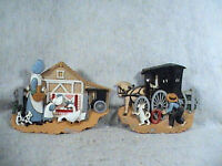 Burwood Pair Amish Country Wall Plaques 1995