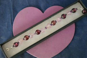 Beautiful Bracelet With Murano Class And Faceted Amethy 7.5 Cm.Long In Gift  Box