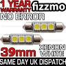 2x 39mm 3 SMD LED 239 272 C5W CANBUS NO ERROR WHITE INTERIOR LIGHT FESTOON BULB