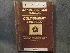 1992 Chrysler Colt Summit Colt 200 Import Service Manual Vol 1 Engine & Chassis