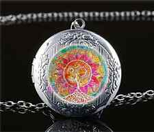 Mandala om Tree of Life Cabochon Glass Tibet Silver Locket Pendant Necklace