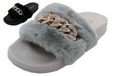 Sandalias De Mujer Piel esponjosa deslizadores plana Cómodos Zapatos De Verano Casual Zapatillas De Diapositivas