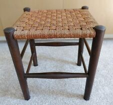 Fabulous Rustic Vintage Woven Top Tall Footstool
