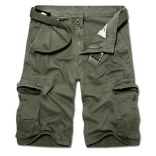 Mens Military Combat Camo Cargo Shorts Pants Work Casual Black Army Trousers