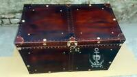 English Handmade Leather Brown Finest Leather Trunk with Key Leather Box