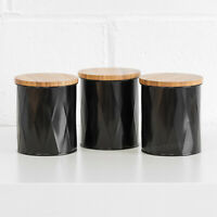 Black Geometric Wooden Lid Tea Coffee Sugar Canisters Storage Containers Jars