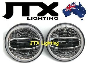 "JTX 7"" LED Headlights N7 White Halo flashes Amber Chrome Face"