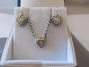 David Yurman Pave Diamond Heart 18K & S/S Necklace & Dangle Drop Earrings Set