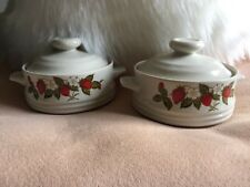 Vintage Susanne Mini Casserole Dish Set Bake Serve Store Stoneware Strawberries