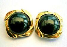 J878*) Vintage gold tone square black glass inlay pierced stud earrings
