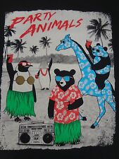 RIOT SOCIETY PARTY ANIMALS PANDA GIRAFFE PENGUIN MEDIUM BLACK T-SHIRT F1017