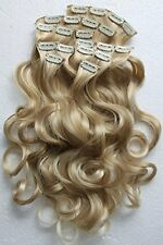 """8 pcs 24"""" Clip In Hair Extensions Full Head Wavy Curled Or Straight blonde mix"""