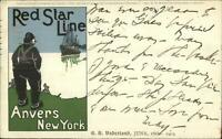 Red Star Line Steamship SS Vaderland 1905 Menu Top Postcard USED