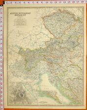 1900 Antike Landkarte Österreichisch Ungarisch Monarchy Wien Tyrol Bohème