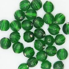 Glass Beads Emerald Green Transparent Fluted Round 9mm Pack of 30. Made in India