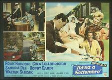 CINEMA-fotobusta TORNA A SETTEMBRE hudson, lollobrigida, dee, MULLIGAN vespa