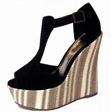 Ladies womens black suede platform sandal shoe wedge heels u.k size 6