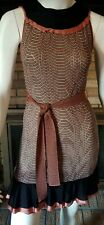 MISSONI Peachy Copper/White/Black Belted Knit Ruffle Bottom Dress Size Small