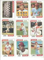 1974 TOPPS PHILADELPHIA PHILLIES TEAM SET- VG-EX+ W/TRADED, MIKE SCHMIDT ROOKIE