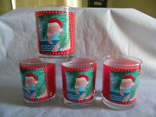 Vermont Georges Briard Set of 4 Christmas Flamingo Glasses Double Old Fashioned
