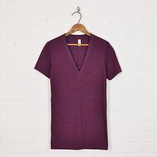NWOT $24 American Apparel TR456 Cranberry Tri-Blend Deep V-Neck T-Shirt Mens XS