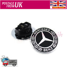 FOR Mercedes Benz Black Wreath Flat Bonnet Badge Emblem A2048170616 NEW 57mm