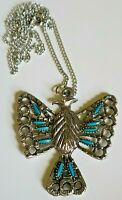 Vintage Necklace Faux Turquoise Thunder Bird Pendant Silver Tone Chain