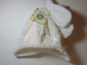 New Little Me Girl's Winter White Minky Swirl Fur & Fleece Hat & Mittens, 12-24M