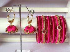 Silk Thread Bangles with Jhumka Earrings - Pink