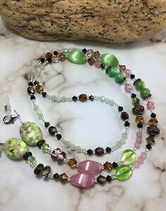 Handmade Cats Eye Stone/Swarovski Element/Mask/Eyeglass Chain/Lanyard USA