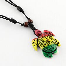 Resin Turtle/Tortoise Pendant Adjustable  Black Wax Cord Necklace (R164-07)