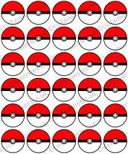 30 X Pokemon Pokeball Divertida Fiesta Comestible Arroz Oblea Papel Cupcake Toppers