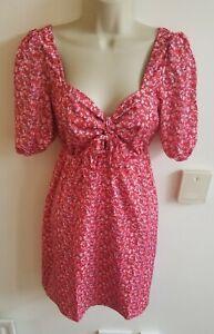 New Stunning Red Floral Size 10 Ditsy Trendyol @ Little Mistress Dress Tea