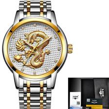 LIGE Reloj Hombre de Lujo Oro Dragón Negocios Cuarzo Acero Total Impermeable