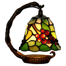 "Bieye Tiffany Stained Glass Grape Table Lamp Night Light Handmade 6""W 8""H"
