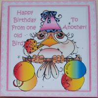 HANDMADE 3-D BIRTHDAY GRETTING CARD WITH A SENTIMENT FROM ONE OLD BIRD - ANOTHER