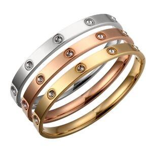 Titanium Steel Love Bracelet with Swarovski Crystals Silver, Gold, Rose Gold