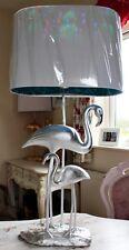 X large 90 cm Argent flamant Oiseaux Tropical Pineapple style lampe de table luxe