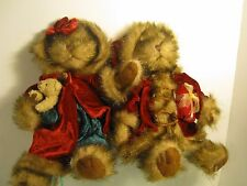 Christmas Teddy Bears Couple Tender Hearted Collection Plush Fur & Velvet 14""