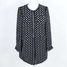 MAISON COMMON Snap Front Polka Dot Jacket Cotton Blend Black/white EU 42 US M/12