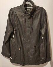 Wishwood Ladies Jacket UK 16 Black Soft Shell Wind Shield Walking Silver Zips