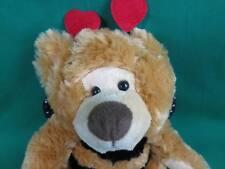 GOLDEN BROWN BUMBLEBEE TEDDY BEAR POLKADOT BLACK WINGS HEART ANTENNA PLUSH CUTE