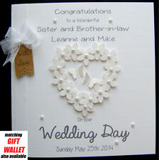 LARGE Personalised Wedding Card-Engagement or Anniversary Congrats 'FlowerHeart'