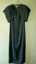 Vtg Classy 2pc Blue MARIE ST CLAIRE SZ 4 Dress w/ Bolero Jacket Shrug Formal