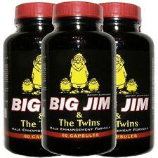 PENIS ENLARGEMENT PILLS - BIG JIM & THE TWINS -BEST MALE ENHANCEMENT - 3 BOTTLES