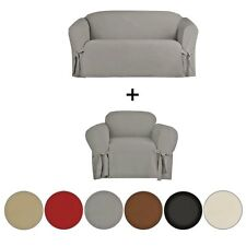BUNDLE 2 PIECE MICRO-SUEDE FURNITURE SLIPCOVER LOVESEAT & CHAIR COUCH COVERS