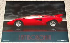 Red LAMBORGHINI Countach 5000S Car Poster 1986 Scandecor Garage Mancave Workshop
