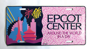Vintage Disney Epcot Center Around The World In A Day Number Plate Metal