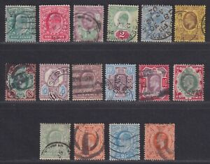 Great Britain Scott 127//150 Used Edward VII 16 Stamps to 1/-